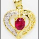Heart Unique 18K Yellow Gold Ruby Diamond Pendant [P0096]