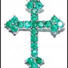 18K White Gold Natural Gemstone Cross Pendant Emerald [P0129]