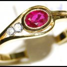 18K Yellow Gold Jewelry Solitaire Diamond Ruby Ring [RS0115]