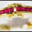 Band Ring Unique 18K Yellow Gold Diamond Natural Ruby [R0044]