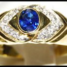 Solitaire Blue Sapphire Genuine Diamond Ring 18K Yellow Gold [RS0027]