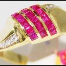 14K Yellow Gold Genuine Gemstone Diamond Ruby Ring [RR016]