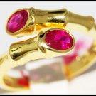 Jewelry 14K Yellow Gold Ruby Gemstone Bamboo Ring [RR062]