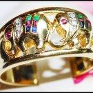 14K Yellow Gold Jewelry Diamond Multi Gemstone Elephant Ring [RR003]