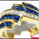 Natural 14K Yellow Gold Gemstone Blue Sapphire Diamond Ring [RR042]