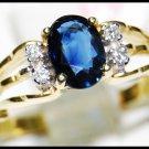 Unique Diamond Solitaire Blue Sapphire Ring 18K Yellow Gold [RS0135]