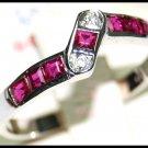 18K White Gold Unique Ruby Gemstones Diamond Ring [R0023]