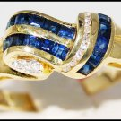 Eternity 14K Yellow Gold Diamond Gemstone Blue Sapphire Ring [RR025]