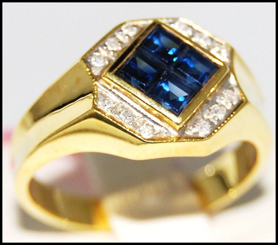 Gemstone Diamond Unique Blue Sapphire Ring 14K Yellow Gold [RR043]