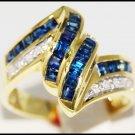 Wedding Diamond Gemstone 14K Yellow Gold Blue Sapphire Ring [RR024]