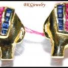 14K Yellow Gold Diamond Multi Gemstone Elephant Earrings [E_111]