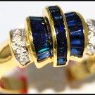 Jewelry Diamond Gemstone Blue Sapphire Ring 14K Yellow Gold [RR068]