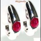 Clip-On 14K White Gold Gemstone Natural Ruby Earrings [E_103]