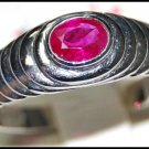 18K White Gold Real Natural Gemstone Oval Ruby Ring [RS0068]