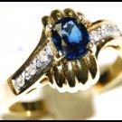 Blue Sapphire Solitaire Unique Diamond 18K Yellow Gold Ring [RS0022]