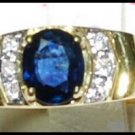Diamond Genuine Solitaire Blue Sapphire Ring 18K Yellow Gold [RS0021]