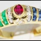 18K Yellow Gold Jewelry Diamond Eternity Multi Gemstone Ring [R0058]