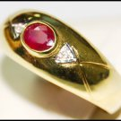 18K Yellow Gold Ruby Diamond Genuine Solitaire Ring [RS0140]