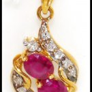 18K Yellow Gold Diamond Jewelry Gemstone Ruby Pendant [P0079]