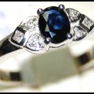 Diamond Solitaire Genuine 18K White Gold Blue Sapphire Ring [RS0103]