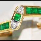 Gemstone Eternity Diamond 18K Yellow Gold Emerald Ring [R0023]