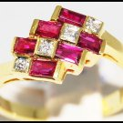 Six Unique Ruby and Diamond Ring Unique 18K Yellow Gold [R0091]