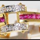 Unique Design Diamond and Ruby Ring Unique 18K Yellow Gold [R0099]