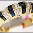 14K Yellow Gold Natural Diamond Gemstone Blue Sapphire Ring [RR035]