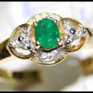 Emerald Solitaire Diamond Eternity 18K Yellow Gold Ring [RS0109]