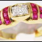 Genuine Ruby and Diamond Unique 18K Yellow Gold Ring [R0040]