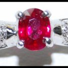 Solitaire Diamond 18K Yellow Gold Ruby Jewelry Ring [RS0192]