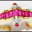 18K Yellow Gold Diamond and Unique Natural Ruby Ring [R0043]