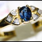 Diamond Natural Solitaire Blue Sapphire 18K Yellow Gold Ring [RS0103]