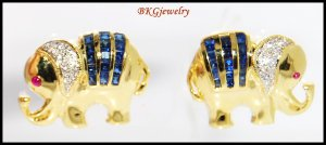 18K Yellow Gold Diamond Blue Sapphire Elephant Earrings [E0044]