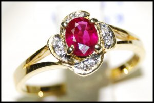 Wedding Ruby Diamond 18K Yellow Gold Ring Solitaire [RS0105]
