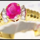 Wedding Ruby Solitaire Ring Diamond 18K Yellow Gold [R0115]