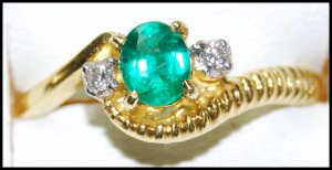 18K Yellow Gold Diamond Eternity Solitaire Emerald Ring [RS0193]