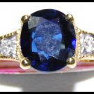 Genuine Diamond Solitaire Blue Sapphire Ring 18K Yellow Gold [RS0173]