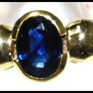 Oval Blue Sapphire Gemstone 18K Yellow Gold Solitaire Ring [RS0052]