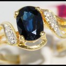 Blue Sapphire Diamond Unique 18K Yellow Gold Solitaire Ring [R0106]