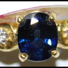 Diamond Unique Solitaire 18K Yellow Gold Blue Sapphire Ring [RS0197]