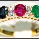 Multi Gemstone Diamond 18K Yellow Gold Three Stone Ring [RF0002]