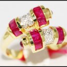14K Yellow Gold Gemstone Unique Diamond Ruby Ring [RR028]
