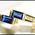 Natural Diamond For Men Blue Sapphire 18K Yellow Gold Ring [RQ0037]