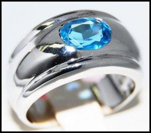 Eternity Gemstone Blue Topaz Ring 14K White Gold Jewelry [RR0074]