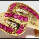Wedding Diamond and Ruby Ring Unique 18K Yellow Gold [R0073]