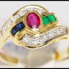 Jewelry Eternity 18K Yellow Gold Diamond Multi Gemstone Ring [R0041]