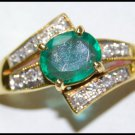 18K Yellow Gold Diamond Natural Solitaire Emerald Ring [RS0208]
