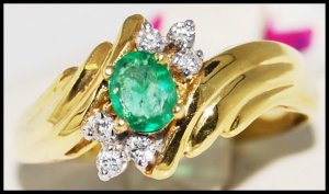 Diamond Solitaire Jewelry Emerald 18K Yellow Gold Ring [R0081]