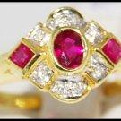 18K Yellow Gold Diamond & Three Ruby Gemstone Ring [R0056]